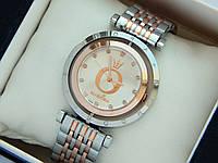 Женские комбинированные часы Pandora c буквой О, серебро-розовое золото, вращающийся циферблат