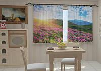 Фотоштора на кухню Цветы и горы
