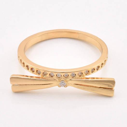 """Кольцо """"Киса"""" 14315 размер 18, белые фианиты, позолота 18К"""