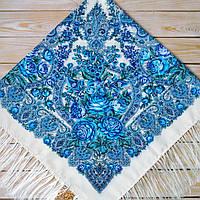 Женский платок молочного цвета (120х120см, молочный, 80%-шерсть)