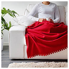 ПОЛАРВИДЕ Плед, красный, 130x170 см 80089927 IKEA, ИКЕА, POLARVIDE, фото 3