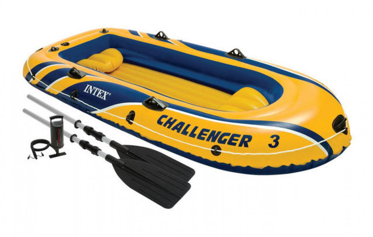Трехместная надувная лодка Intex + алюминиевые весла и ручной насос Challenger 3 Set 295x137x43 cм (68370)