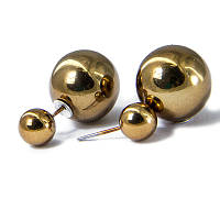 Серьги-пуссеты, белый металл, шарики, золотистые, размер 16х10х0,8 мм (1 пара)