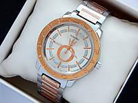 Комбинированные часы Pandora c блестками между меток, серебро-розовое золото