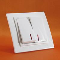 Выключатель двухклавишный с подсветкой Термопласт