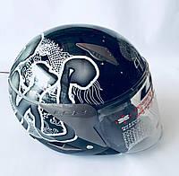 Мотошлем LS2 открытый, цвет черный с рисунком. Мотошлем глянцевый, фото 1