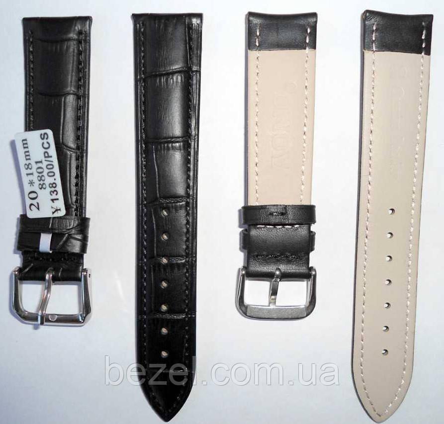 Ремінець для годинника з шкіри Premium 20 мм, сталева бакля