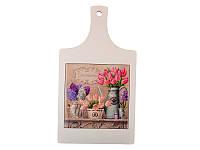 """Досточка """"Весенние Цветы"""" керамика+дерево 21,5х17,5 см, Lefard, 072-027"""