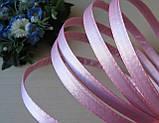 Обруч металлический в атласной ткане.  Нежно розовый 10 мм, фото 2