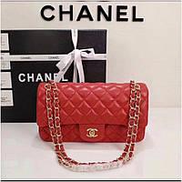 Сумка клатч Шанель 2.55 натуральная кожа медиум цвет красный Люкс копия 739ebfd0981