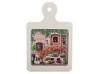"""Досточка """"Home"""" керамика+дерево 15,5х14,5 см, в ассортименте, Lefard, 072-031"""