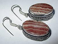 Серебряные овальные серьги с родохрозитом  от студии LadyStyle.Biz, фото 1