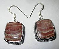 Серебряные  квадратные серьги с родохрозитом  от студии LadyStyle.Biz, фото 1