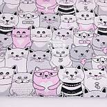 Лоскут ткани  с розовыми и серыми котами№1173 размером 38*80 см, фото 2