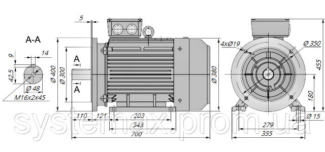 АИР180S2 / АИР 180 S2 / IM 2081 / IM2081 / комб / комбинированный / фланцевый / 22 кВт / 3000 об/мин