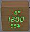 Электронные часы VST-872-S в деревянном корпусе с датчиком влажности, фото 6