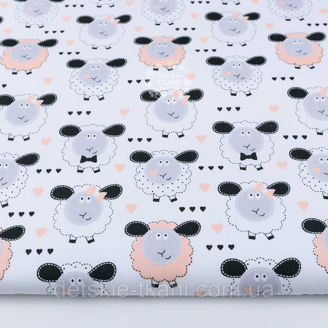 Ткань бязь с баранчиками персикового цвета на белом фоне №1266а