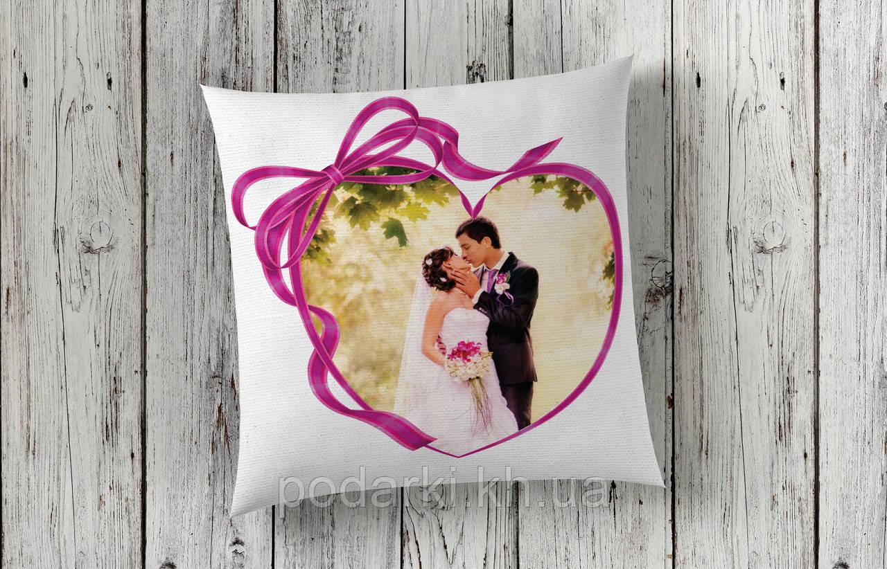 Подушка с фотографией Сердце
