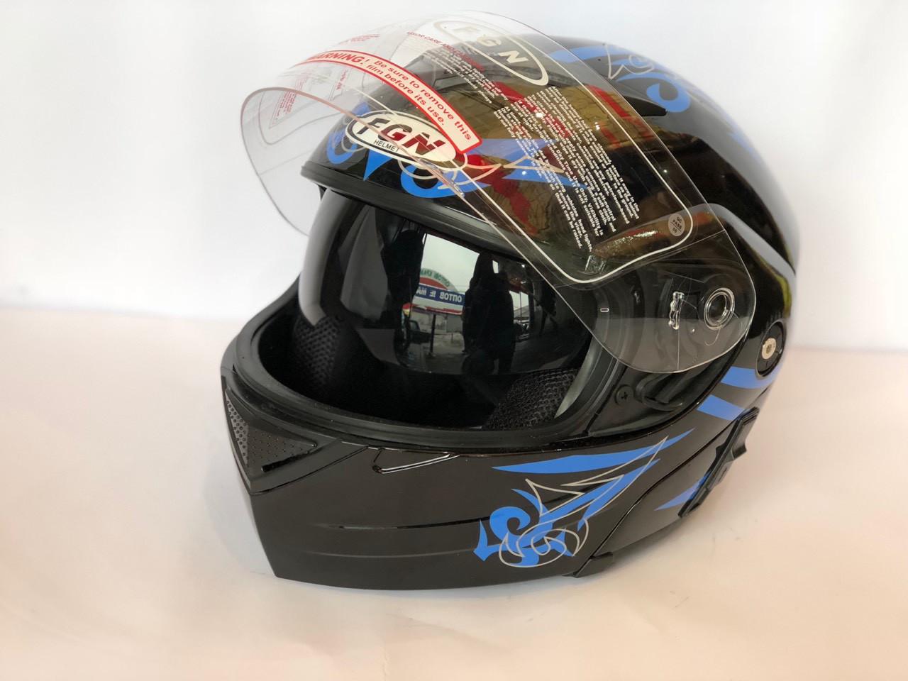 Шлем FGN трансформер с очками, черный с голубым узором