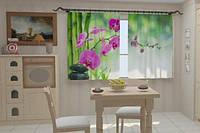 Фотоштора Малиновые орхидеи в кухне