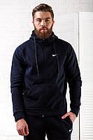 Теплый мужской спортивный костюм темно-синего цвета