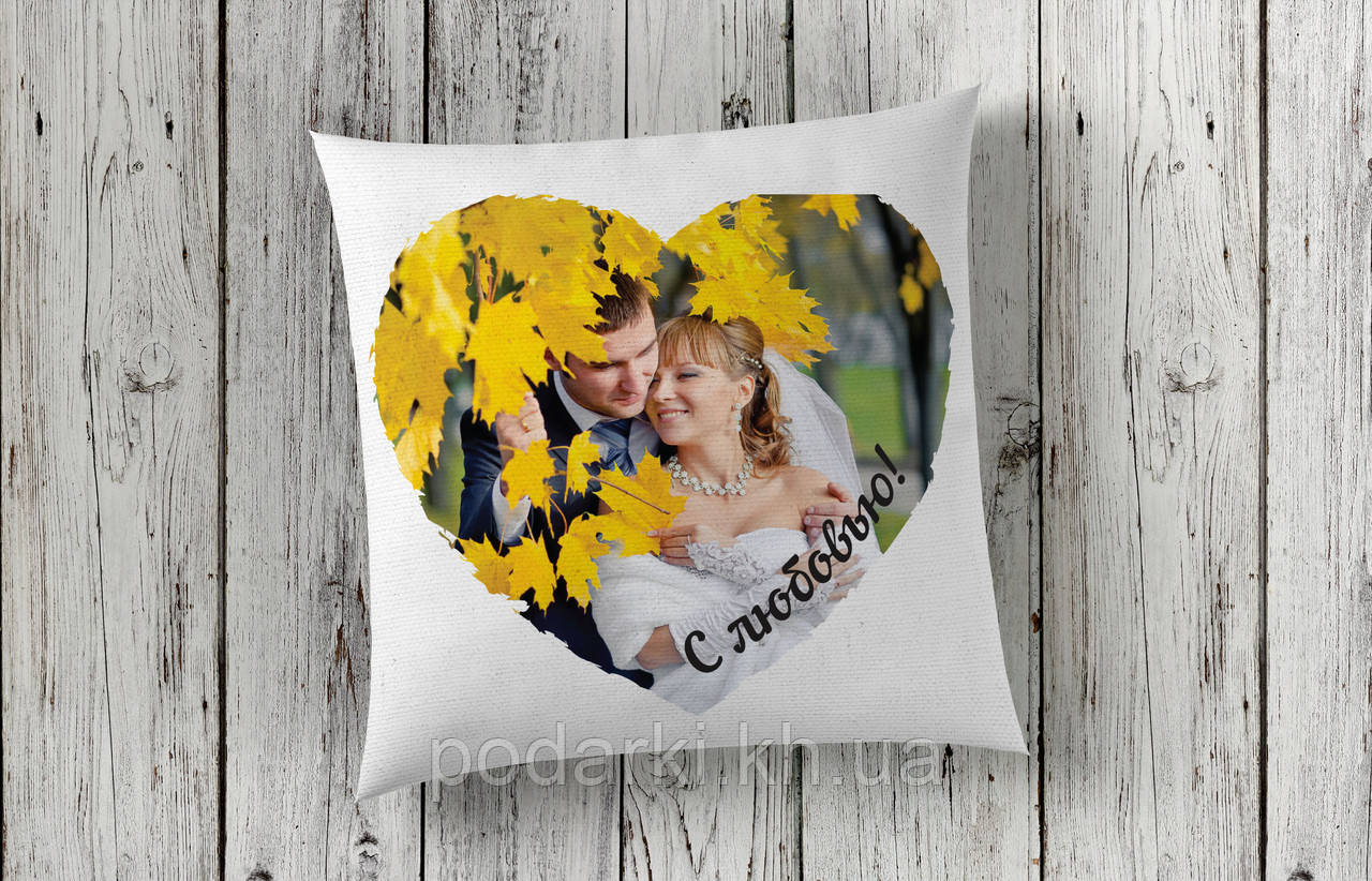 Подушка с фото в рамке сердце