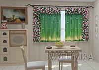 Фотоштора Ламбрекены из цветов. Умиление для кухни