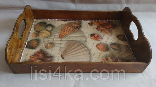 Деревянный малый коричневый поднос с морским мотивом