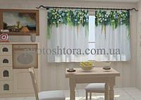Фотоштора Ламбрекены из цветов. Голубые небеса для кухни