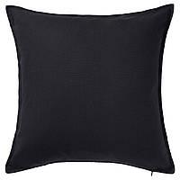 ГУРЛИ Наволочка на подушку, черный, 50x50 см 80281138 IKEA, ИКЕА, GURLI
