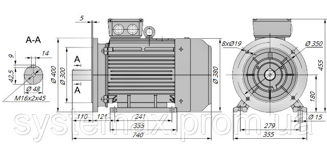 АИР180М2 / АИР 180 М2 / IM 2081 / IM2081 / комб / комбинированный / фланцевый / 30 кВт / 3000 об/мин