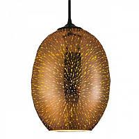 Cветильник подвесной HOROZ ELECTRIC QUANTUM E27 плафон стекло 3D эффект овальный хром,медь