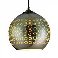 Cветильник подвесной HOROZ ELECTRIC RADIAN E27 плафон стекло 3D эффект круглый хром