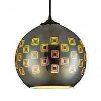 Cветильник подвесной HOROZ ELECTRIC SPECTRUM E27 плафон стекло 3D эффект круглый хром
