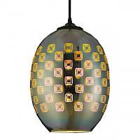 Cветильник подвесной HOROZ ELECTRIC SPECTRUM E27 плафон стекло 3D эффект овальный хром