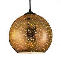 Cветильник подвесной HOROZ ELECTRIC QUANTUM E27плафон стекло 3D эффект круглый хром, медь