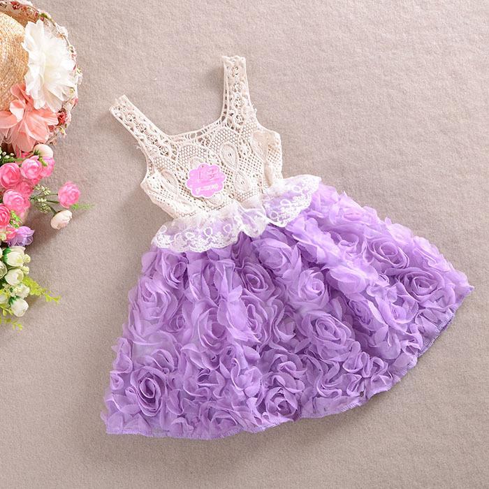 Платья для девочек. Летнее детское платье бежевое с сиреневой юбкой