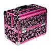 """Профессиональный алюминиевый кейс для косметики """"Velvet flowers"""" розовый с розовым ободком"""