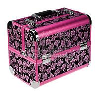 """Профессиональный алюминиевый кейс для косметики """"Velvet flowers"""" розовый с розовым ободком , фото 1"""