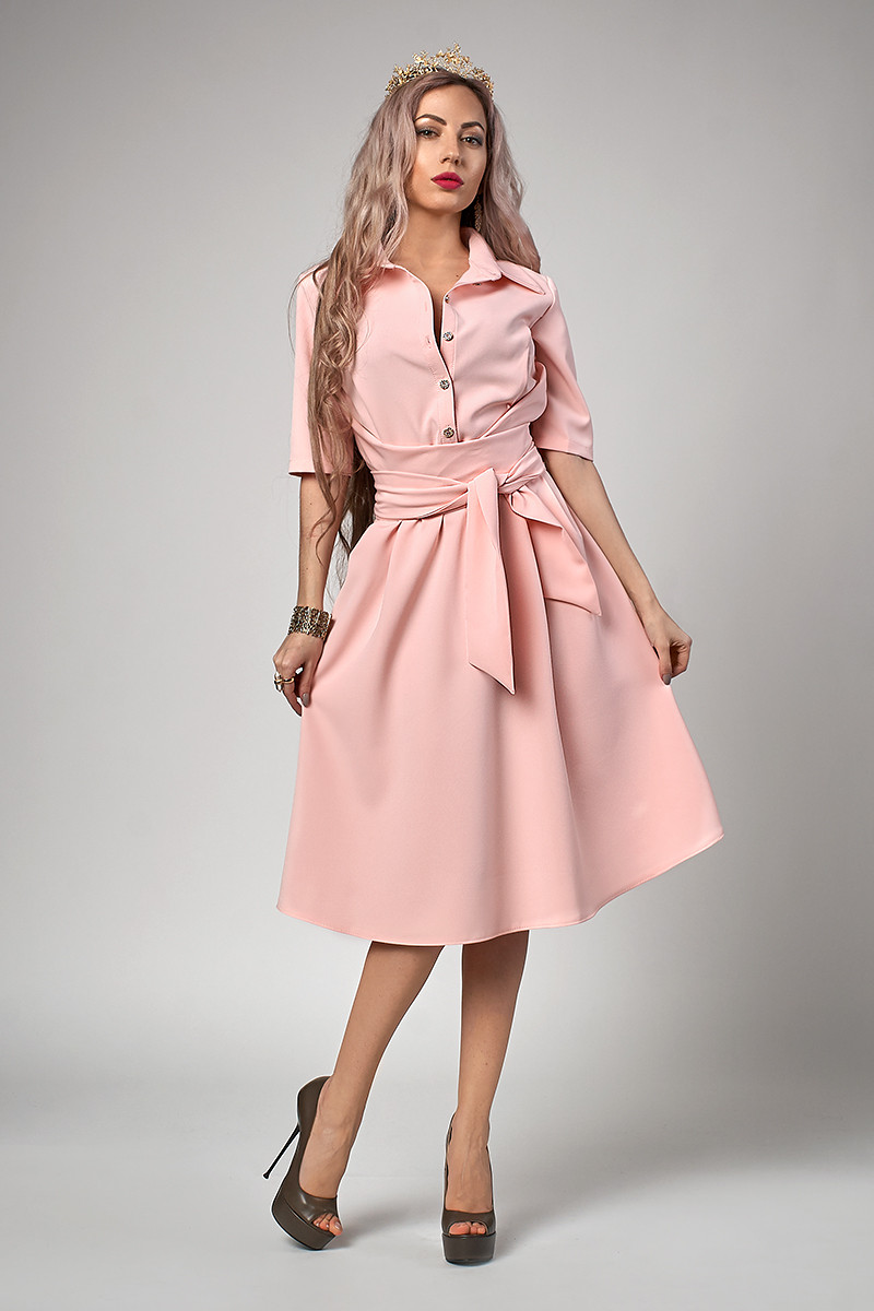 Платье мод №555-4, размеры 44,46,48 пудра