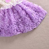 Платья для девочек. Летнее детское платье бежевое с сиреневой юбкой, фото 2
