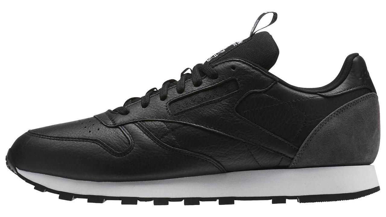 Оригинальные кроссовки Reebok Classic Leather Iconic Taping (Рибок Классик) черные