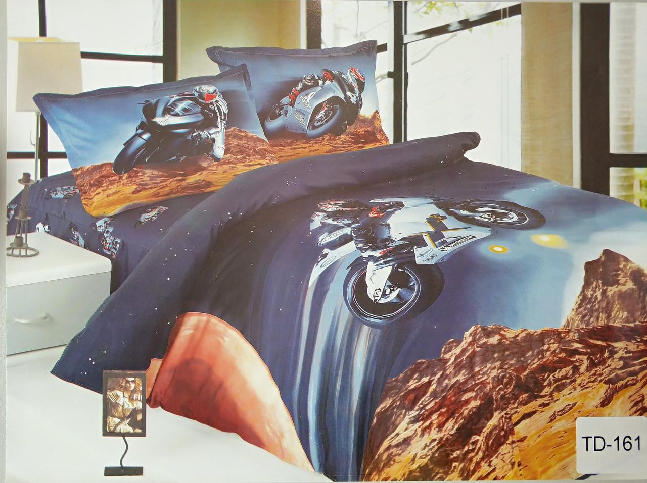 Детское сатиновое постельное белье Elway 3D TD-161  «Мотогонщик»
