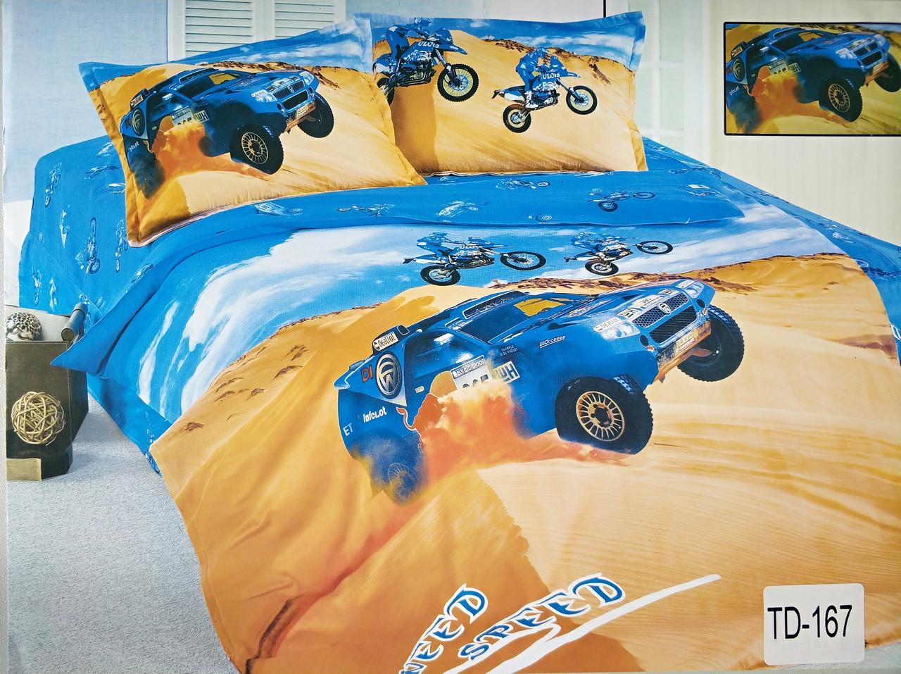 Детское сатиновое постельное белье Elway 3D TD-167 «Гоночный автомобиль»