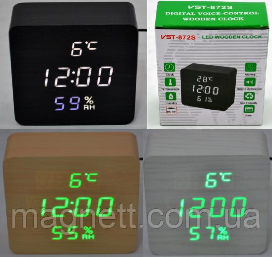 Электронные часы VST-872-S в деревянном корпусе с датчиком влажности