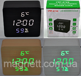 Електронні годинник VST-872-S в дерев'яному корпусі з датчиком вологості
