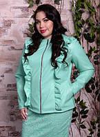 Куртка шкіряна м'ятного кольору, з 48 по 82 розмір, фото 1