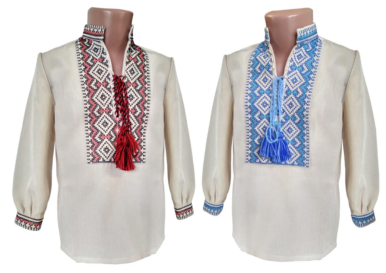 Льняная вышитая рубашка для мальчика с длинным рукавом с завязками на груди