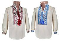 Льняная вышитая рубашка для мальчика с длинным рукавом с завязками на груди, фото 1