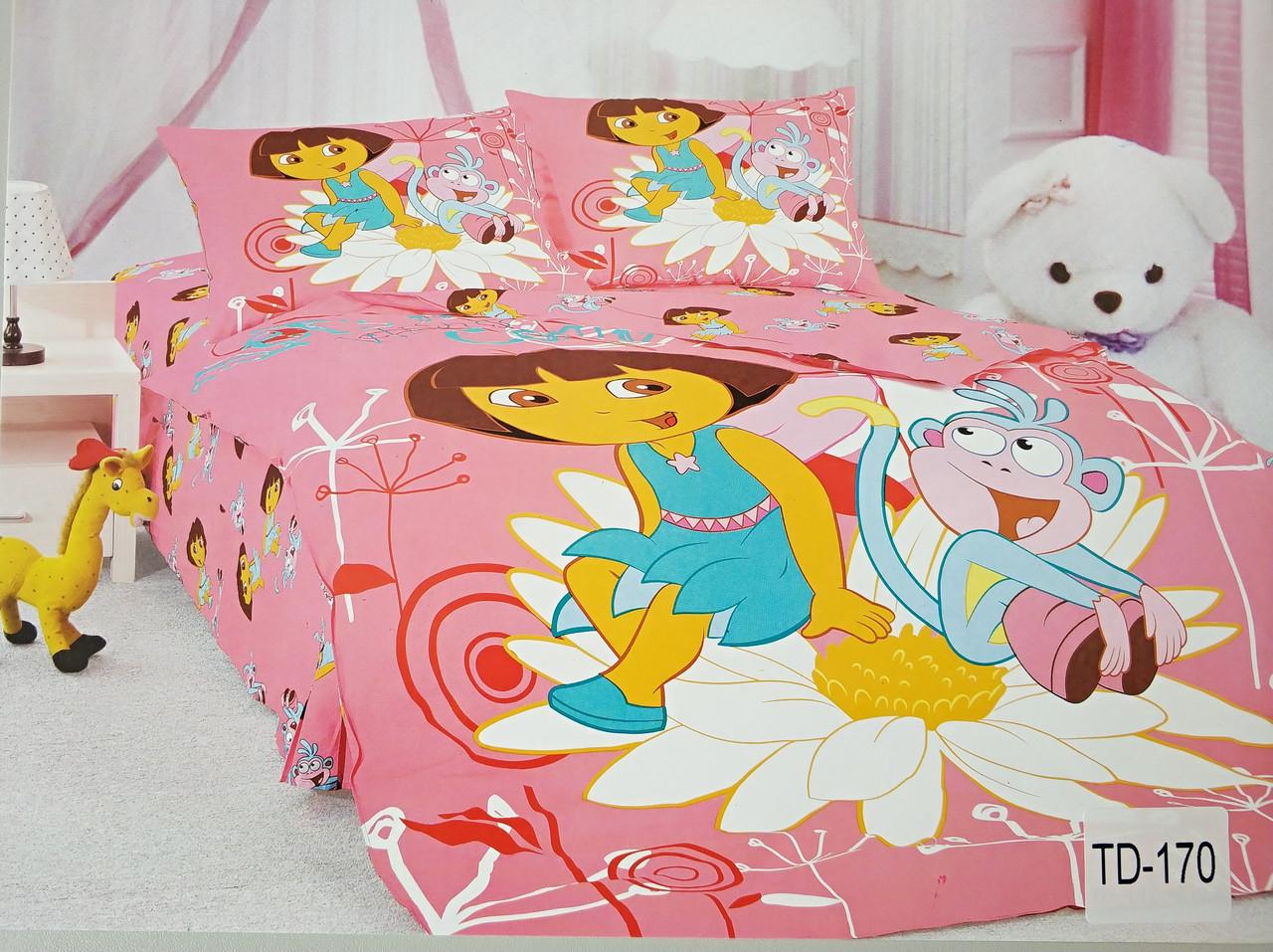 Детское сатиновое постельное белье Elway 3D TD-170 «Даша путешественница»